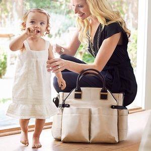Skip Hop Beige Chelsea Infant Satchel Diaper Bag
